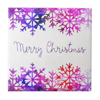 Purple and Pink Merry Chistmas Snowflakes Tile