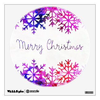 Purple and Pink Merry Chistmas Snowflakes Wall Sticker