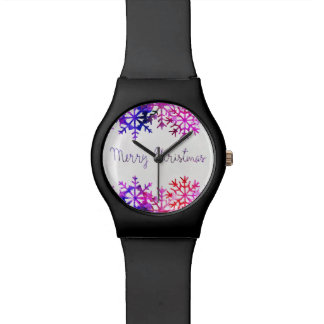 Purple and Pink Merry Chistmas Snowflakes Watch