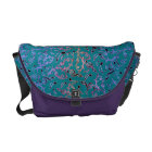 Purple and Pink Music Notes Pattern On Teal Bag Commuter Bag