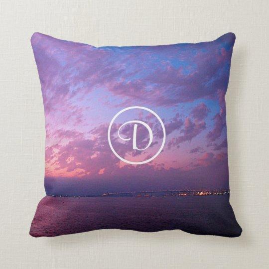 Purple and pink ocean sunset photo custom monogram throw pillow