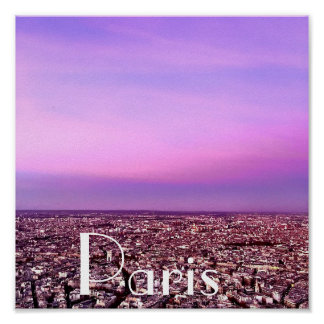 Purple and Pink Paris Vacation Destination Sunset Poster