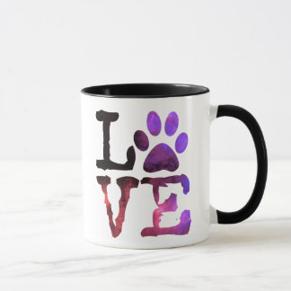 Purple and Pink Paw Print Coffee Mug