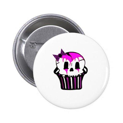 purple and pink skull cupcake pin