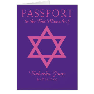 Purple and Pink Star of David Bat Mitzvah Passport Card