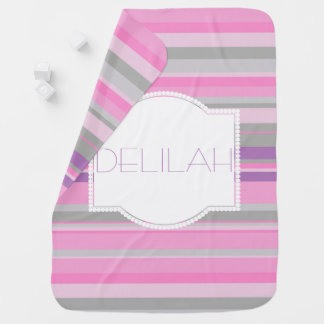 Purple and Pink Striped baby girls blanket Swaddle Blankets