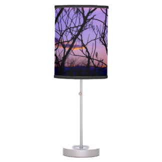 Purple and Pink Sunset Through Tree Silhouette Table Lamps