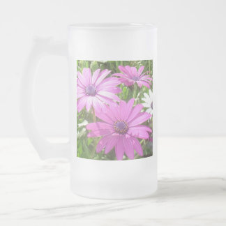 Purple And Pink Tropical Daisy Flower Frosted Glass Beer Mug