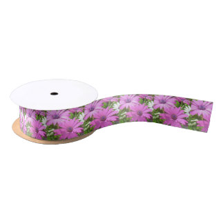 Purple And Pink Tropical Daisy Flower Satin Ribbon