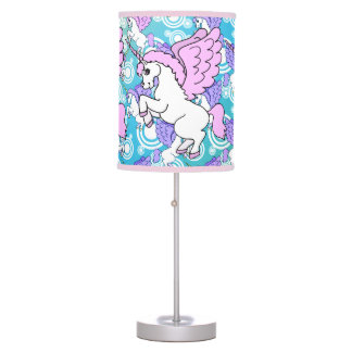 Purple and Pink Unicorn Pattern Table Lamp