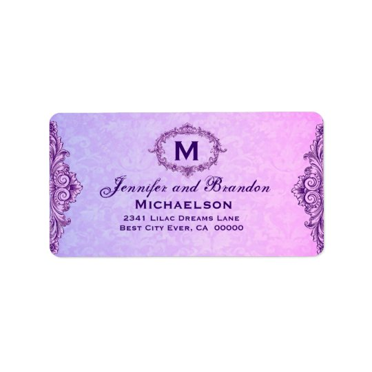 Purple and Pink Vintage Frame Personalized Label