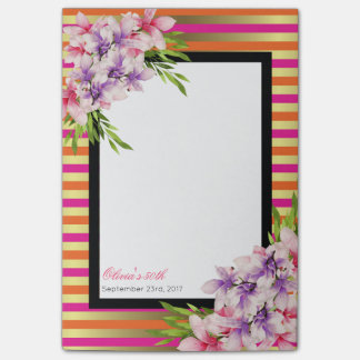 Purple and Pink Watercolor Magnolia Birthday Post-it Notes
