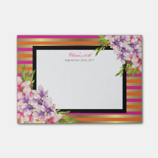 Purple and Pink Watercolor Magnolia Birthday Post-it® Notes