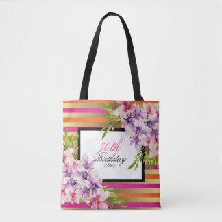 Purple and Pink Watercolor Magnolia Birthday Tote Bag
