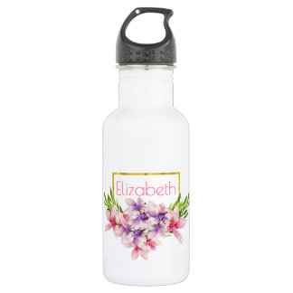 Purple and Pink Watercolor Magnolia Personalized 532 Ml Water Bottle