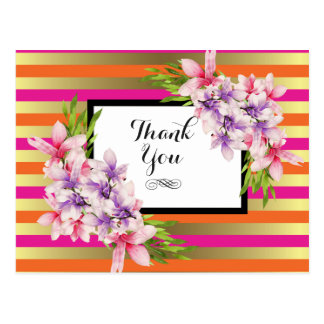 Purple and Pink Watercolor Magnolia Thank You Postcard