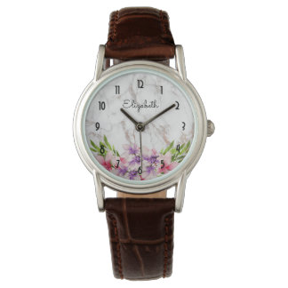Purple and Pink Watercolor Magnolia White Marble Watch