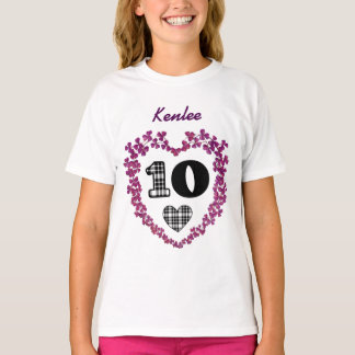 Purple and Plaid 10th Birthday Girl Custom Name V1 T-Shirt