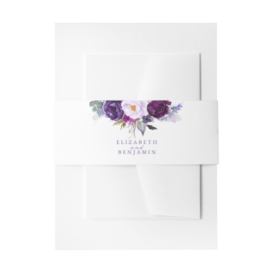 Purple and Plum Watercolor Flowers Invitation Belly Band