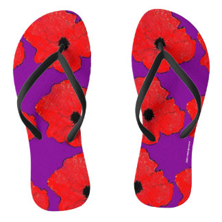 Purple and Really Red Poppy Flip Flops