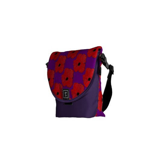 Purple and Really Red Poppy Flower Power Commuter Bag