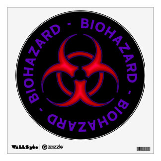 Purple and Red Biohazard Warning Sign Wall Sticker