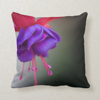 Purple and Red Fuchsia Flower Throw Pillow