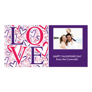 Purple and Red Hearts Pattern Valentines Day Photo Greeting Card