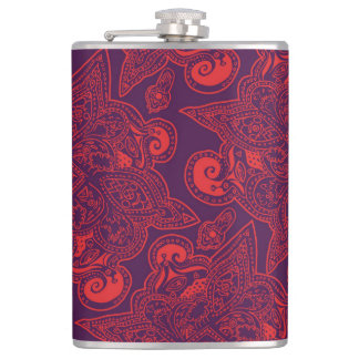 Purple and Red Persian Star Mandala Pattern Flasks