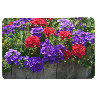 Purple and Red Verbena Floral Floor Mat