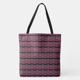 Purple and Red Wave Tote Bag