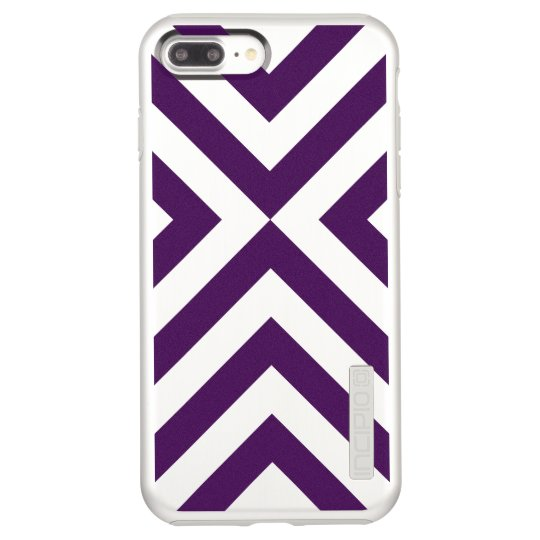 Purple and Silver Chevrons Incipio DualPro Shine iPhone 8 Plus/7 Plus Case