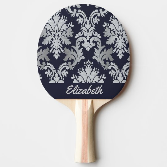Purple and Silver Damask Personalized Paddle Ping Pong Paddle
