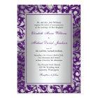 Purple and Silver Damask Swirls Wedding Card