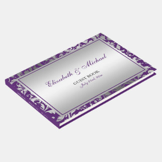 Purple and Silver Damask Swirls Wedding Guest Book