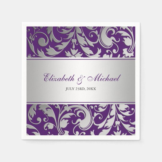 Purple and Silver Damask Swirls Wedding Paper Napkin