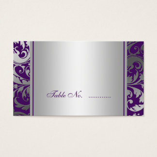 Purple and Silver Damask Swirls Wedding Place Card