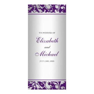 Purple and Silver Damask Swirls Wedding Program