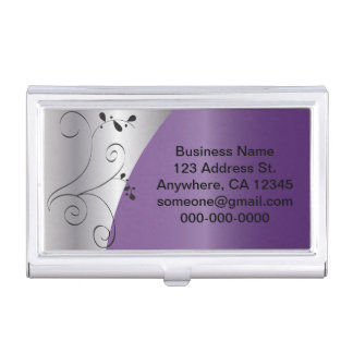 Purple and Silver Elegant | Personalize Business Card Holder