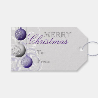Purple and Silver Festive Christmas Gift Tags