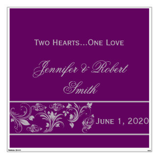 Purple and Silver Floral Scroll Wedding Wall Cling Wall Sticker