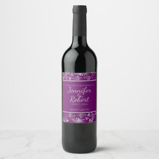 Purple and Silver Floral Scroll Wine Label