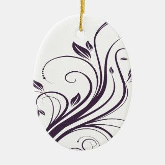 Purple and Silver Floral Swirls Wedding Ceramic Ornament