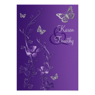 Purple and Silver Floral with Butterflies on Linen Personalized Invitation