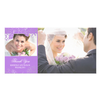 Purple and Silver Flowers Wedding Photo Cards