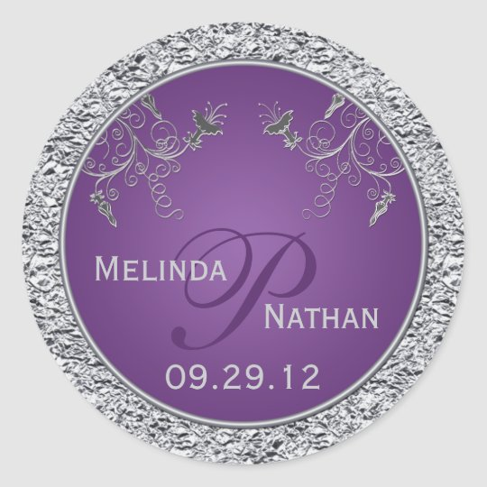 Purple and Silver Foil Floral Monogrammed Sticker