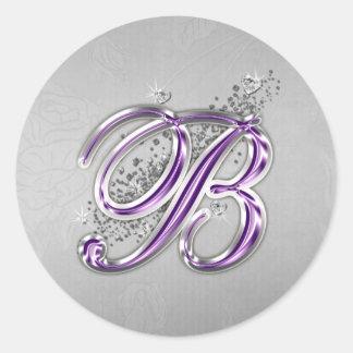 Purple and Silver Glitter Monogram B Sticker