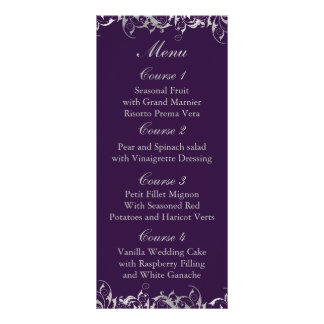 purple and silver gray wedding menu cards customized rack card