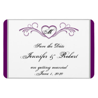 Purple and Silver Heart Monogram Save the Date Rectangular Photo Magnet