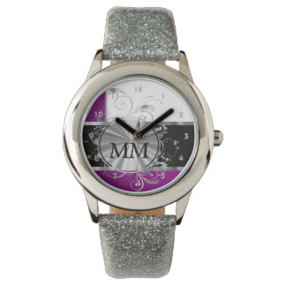 Purple and silver monogram on white watch